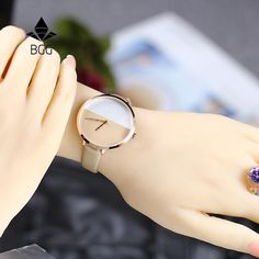 Luxury Women's Fashion Dress Watches Stitching Design Simple Bracelet Ladies wristwatches Gold BGG Quartz Famale Clock Stylish Watches For Girls, Trendy Watches, Elegant Watches, Beautiful Watches, Cool Watches, Watches For Men, Cheap Watches, Army Watches, Rolex Watches