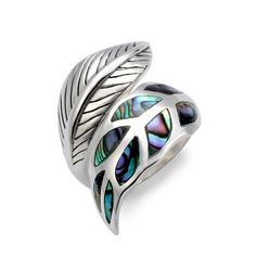 925 Sterling Silver Genuine Abalone Shell Wrap Around Leaf Ring - Adjustable Size 6, 7, 8, 9