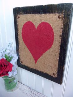 Red Heart on burlap with Black wood Ivory and by TheBurlapMonogram, $34.00
