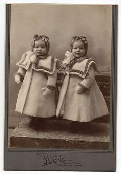 :::::::: Antique Photograph ::::::::: Adorable Twin girls in matching coats.