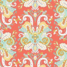 Fabric Anna Elise, Poetic Saddle Vibes, Primrose Belle Bari J. Art Gallery Damask Peach Coral Mint Yellow