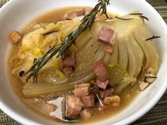 Hakusai cabbage in dashi with bacon, an alternative winter dish.