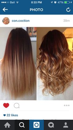 Summer to fall ombre. Chocolate brown to golden blond. 2015 hair colours.
