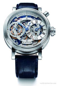 Patek philippe for tiffany Grieb & Benzinger Blue Sensation regulator chronograph watch in platinum (front view) 197,500 euro