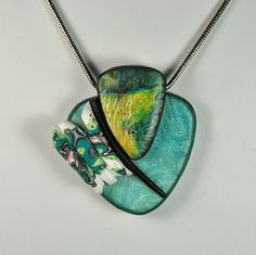 Asymmetrical Turquoise Teal Yellow and White Handmade Polymer Clay Pendant Necklace