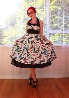 "Rockabilly Butterfly ""Carla"" Dress with Halterneck,Heart Button Detail, Black Trim and Full Skirt - Custom made to fit"