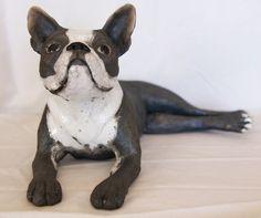 Ceramic Boston Terrier ceramics raku sculpture by ChloeFarrant