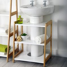 Lloyd Pascal Denver Bamboo Undersink Shelf Unit - Natural & White - One Colour - Free Standing Vanity, Free Standing Cabinets, Under Sink Storage Unit, Storage Shelves, Pedestal Sink Storage, Shelving Units, Basin Cabinet, Small Space Organization, Medicine Organization