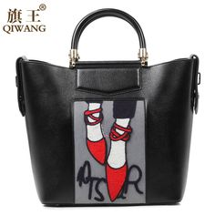 03ff9ae6ee Qiwang Embroidery Handbag Woman Luxury Fashion Shoes Bag Real Leather Tote  Bag Paris Brand Designer Handbag