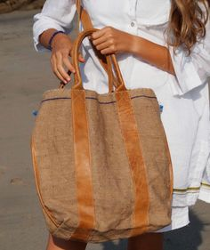 Leather bag natural dye and whole weaved jute by elisabethleroy1, $110.00