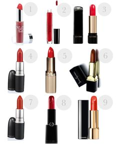 """Pale/Fair Skin (most redheads) should try these neutral reds 4. Mac """"Ruby Woo"""" 5. L'Oréal Paris Colour Riche Lipcolour in """"British Red"""" 6. Susan Ciminelli """"True Red"""""""