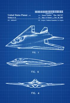 Stealth Aircraft Patent - Airplane Blueprint Aviation Art Airplane Art  Pilot Gift Aircraft Decor Airplane Poster Northrop Air Force by PatentsAsPrints