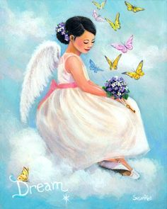 Dream - Illustration by Susan Rios I Love You Mama, Tres Belle Photo, I Believe In Angels, Angels In Heaven, Heavenly Angels, Angel Pictures, Angels Among Us, Butterfly Kisses, Angel Art