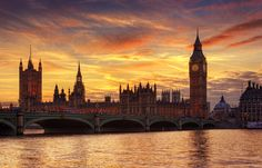 Westminster Palace and Houses of Parliament, London, England by...