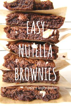 Easy Nutella Brownies (only 3 ingredients!)