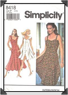 SIMPLICITY Pattern 8418 - Misses Front Button Sweetheart Dress/Sundress w/Gathered Straps - Sz 12-14-16 - Uncut/FF - Vintage 1990s. $5.50, via Etsy.