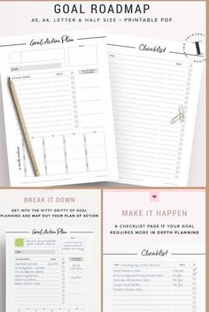 Goal Setting: 2 Printable Pages | Created by #IndigoPrintables Got a big goal you want to accomplish this year? Print out your Goal Planning Worksheet and create your very own roadmap with milestones, deadlines, and a 12-month breakdown. A Task Checklist is included to accompany your Goal Planner. Functional and elegant inserts for your with enough space for hole punching on either side. #bulletjournal #inserts #goals #ad