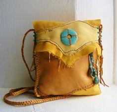 WARRIOR SPIRIT deerskin Leather 2 pocket cross by pradoleather