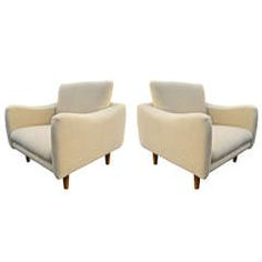 J.A. Motte for Steiner Rare Pair of 1950s Lounge Chairs, Newly Reupholstered