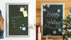 Put together this easy magnetic message board.  Jot notes on the chalkboard surface or use magnets to attach lists and coupons to this family message center. Then dress it up to send a Christmas message.