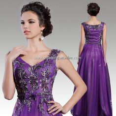 Purple Wedding Gown - Beading Inflorescence $176.79 (was $207.99) Click here to see more details http://shoppingononline.com/wedding-gowns/purple-wedding-gown-beading-inflorescence.html #PurpleWeddingGown #VNeck #PurpleDress