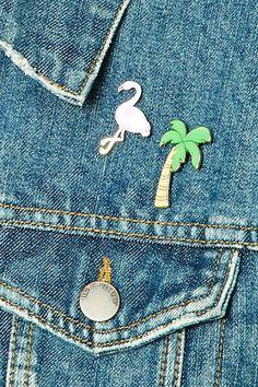 Flamingo and Palm Tree Pin Set