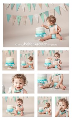 Adorable little boy's cake smash in turquoise and tan color scheme, cake smash inspiration