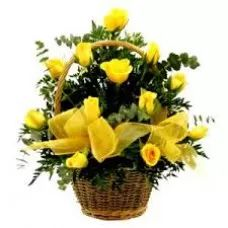Roses Basket, Cheap Flowers, Yellow Basket