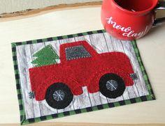 Red Truck Mug Mat Sewing Tutorial Mug Rug Patterns, Sewing Patterns Free, Free Sewing, Sewing Tutorials, Quilt Patterns, Sewing Crafts, Free Pattern, Pattern Sewing, Craft Tutorials