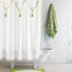 John Robshaw Textiles - White/Moss Green Iswar Shower Curtain - Shower Curtain - BATH