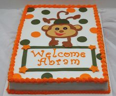 Monkey baby shower cake 1/2 sheet