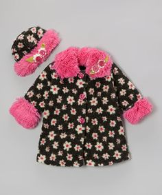 Little ones will stand out from the crowd in this utterly adorable set. This layer of snuggle-worthy style is made of soft fleece with pretty embellishments and a hat to match. Bright colors and a vintage-inspired pattern create a charming and classic look.