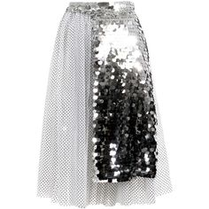 Anouki Sparkly Apron Skirt (2.650 RON) ❤ liked on Polyvore featuring skirts, bottoms, silver, polleras, see-through skirts, sheer overlay skirt, sheer skirt, apron skirt and polka dot skirt