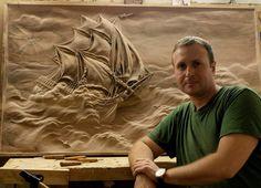 Chip Carving, Wood Carving Art, Wood Art, Wood Carvings, Art Carved, Mural Art, Wood Sculpture, Wood Paneling, Wood Crafts