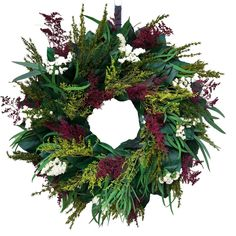 Etsy Wreaths, Wreaths For Sale, How To Make Wreaths, Dried Flower Wreaths, Greenery Wreath, Dried Flowers, Purple Wreath, Lavender Wreath, Indoor Wreath