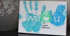 "It was the hubby's birthday yesterday, and we made this little ""art piece"" for him. Just our handprints on a little canvas, which I thou..."