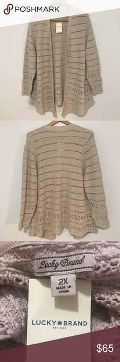 """Lucky Brand Cardigan Sweater Knit Open Front NWT! Lucky Brand Women's Lucky Brand Cardigan/Sweater: 3/4 Sleeve. Knit. Open Front. Neutral. Textured. Made of: 100% Cotton. Pit To Pit: 22"""". Length: 28 1/4"""". *Measurements are approximate* Lucky Brand Sweaters Cardigans"""