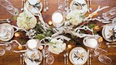 A winter holiday inspiration session that mixes rustic and contemporary with a side of gold glitter. Wedding Table Garland, Loft Wedding, Winter Holidays, Holiday Parties, Wedding Venues, Table Settings, Table Decorations, Party, Inspiration