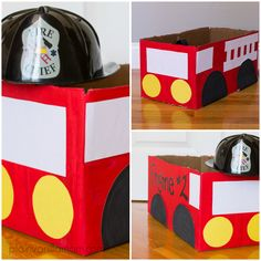 DIY Firetruck for fire safety week and letter F! Costume Halloween, Halloween Costumes Kids Boys, Family Halloween, Holidays Halloween, Halloween Crafts, Halloween Decorations, Kid Costumes, Children Costumes, Halloween Halloween