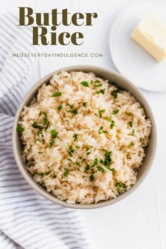 Get ready for the best rice of your life. This Butter Rice is packed with rich, buttery flavor. Chicken stock adds another flavor dimension. Rice Dishes, Tasty Dishes, Food Dishes, Side Dishes Easy, Side Dish Recipes, Unique Recipes, Ethnic Recipes, Brown Rice Recipes, Butter Rice