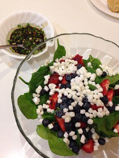 Spinach & Goat Cheese Salad // With Strawberries & Blueberries