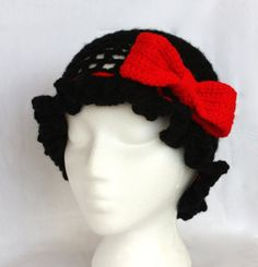 Retro black crotchet ruffled hat with a red by UniquePhillyGifts4U, $30.00