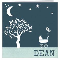#geboortekaartje in groene tinten voor een #jongen met een #kinderwagen onder een boom in een achtergrond van sterren en de maan. Maak het jouw eigen kaartje door het aan te passen met eigen tekst en bijpassende afbeeldingen uit onze beeldenmap op www.babyboefjes.nl. Direct het kaartje bewerken: http://www.babyboefjes.nl/geboortekaartje-01-1-0373c.html