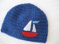 Sailboat Boy Hat in Baby/Toddler sizes 03 36 by HunkyDoriBoutique
