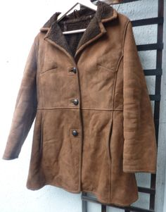 """Ladies Vintage Genuine Sheepskin suede coat Brown Mod Classic 1970s Small 34"""" by Shadesofstylelondon on Etsy"""