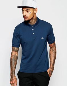 """Polo shirt by Vivienne Westwood Breathable cotton pique Point collar Three button placket Signature logo Fitted cuffs Side splits Regular fit - true to size Hand wash 100% Cotton Our model wears a size Medium and is 185.5cm/6'1"""" tall"""