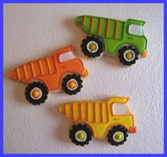 Dumptruck cookies ~ http://www.facebook.com/pages/FROSTING-Cakes-Cookies/292593026792