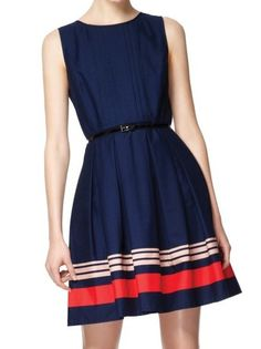 Pair this with a bright blazer and nude flats for a nautical, color-blocked look!