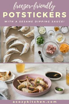 Potstickers are steamed and then pan-fried. These potstickers are filled with ground pork, fresh ginger and cabbage; resulting in super flavorful, delicious and perfectly crispy potstickers that are served with a dipping sauce. This easy Asian recipe is the perfect appetizer to serve before your favorite Asian dinner recipe. These homemade potstickers are perfect for meal planning and freezer-friendly. Skip the takeout and make this super tasty potstickers tonight!