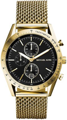 $275, Gold Watch: Michael Kors Michl Kors Chronograph Accelerator Gold Tone Stainless Steel Mesh Bracelet Watch 42mm Mk8388. Sold by Macy's. Click for more info: https://lookastic.com/men/shop_items/132090/redirect